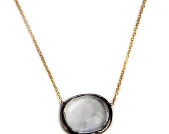 15% Discount Rose Cut Quartz Necklace With Oxidized silver chain