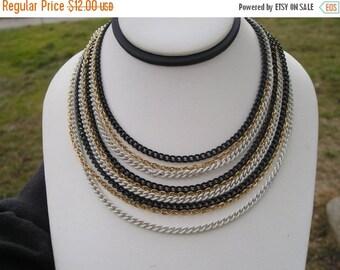 SALE Vintage Multi Chain Enamel black white and gold Amerique Necklace