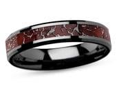 Dinosaur Bone Ring for Him or Her, Statement Ring, Red Dinosaur Bone Inlaid In A Black Ceramic Wedding Band