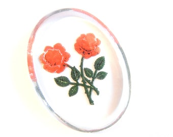 Vintage Glass Oval Rose Cameo Intaglio Hand-Painted