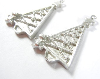 Pair of Pewter Christmas Tree Charms