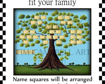 Family Tree Giclee Print Custom Designed To Fit Your Family