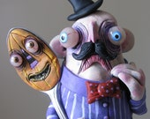 Edwin and pumpkin ooak mealy monster land one of a kind art doll sculpture polymer clay