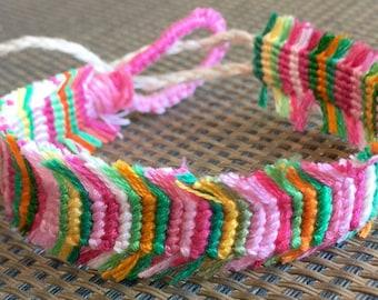 Pink Fringe Friendship Bracelet or Anklet, friendship gift, string bracelet, knotted bracelet, best friend gift, gift for her, braided