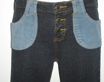groovy vintage colorblock corduroy pockets flare denim jeans SMALL