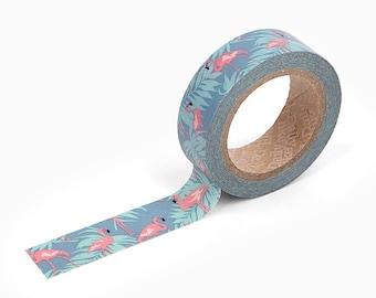 Washi Tape : Flamingo - 15mm x 10 Metres - Flamingo Masking Tape - Blue Washi Tape - Dailylike Washi Tape - Washi Tape Australia