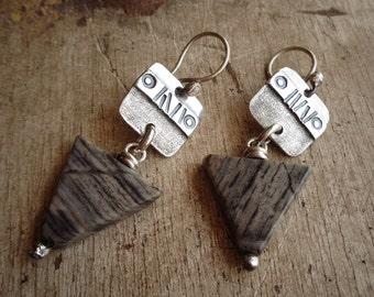 Stamped and Textured Sterling Silver & Triangle Arrowhead Jasper Stone Earrings . Rustic Tribal Southwestern Wabi Sabi Organic Boho Jewelry