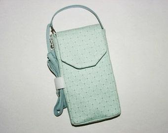 Cell Phone iPhone Smartphone Evo Droid Case Small Mini Purse Cross Body Bag: Aqua Green Diamond Print