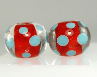 Made to Order - One Pair of Red and Turquoise, Lampwork Beads, Handmade Glass Beads, SRA Beads