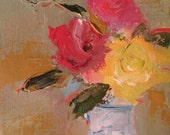 Three Roses - Original Flower Painting- Still Life Painting- 8 x 10 Acrylic- Stretched Canvas- 3/4 inch sides- painted