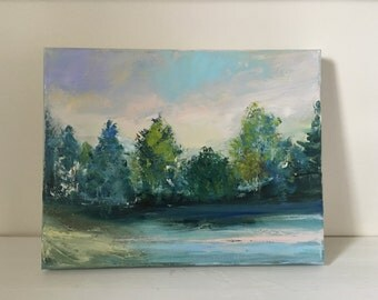 """Lake Shore - Oil Painting- 11 x 14- Impressionist Painting- Original Oil Painting- 1-1/2"""" thick painted edge"""