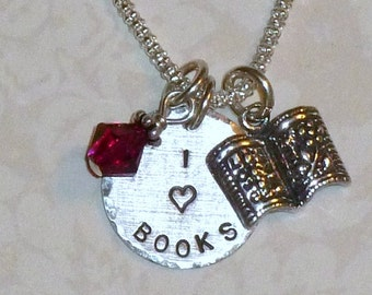 Book Lover Necklace,  Book Lover Jewelry, I Love Books Hand Stamped Sterling Silver Charm and Birthstone Necklace