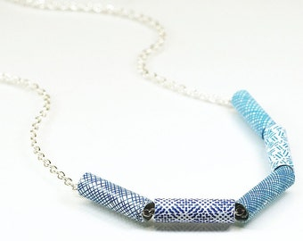 Paper Bead Jewelry- Upcycled Blue Security Envelope Paper Bead Necklace, Recycled Junk Mail, Paper Jewelry, Modern Contemporary Jewelry
