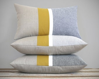 Chambray and Mustard Yellow Striped Lumbar Pillow   Minimal Home Decor by JillianReneDecor (Custom Colors Available) Honey Gold