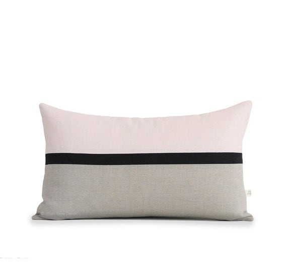Blush Linen Color Block Pillow Cover With Black Amp Neutral