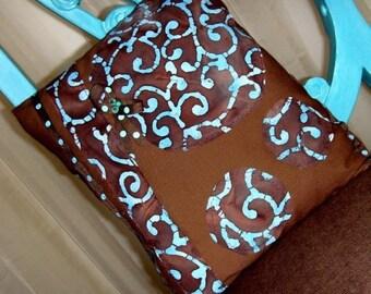 Brown Batik Linen Pillow / Turquoise - Blue - Aqua - Chocolate Brown / Batik Appliques - Ribbon - Beads / 12 x 14 / OOAK