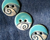 Ceramic Buttons: Turquoise and Matte Teal