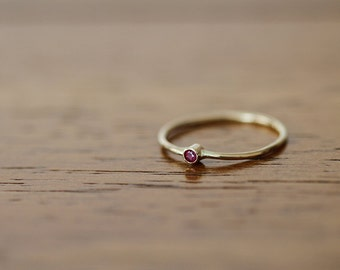 14k Yellow Gold Band Set with Ruby (E0600)