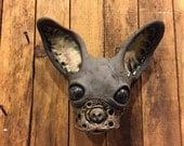 Ceramic chihuahua mask, wall hanging, original art