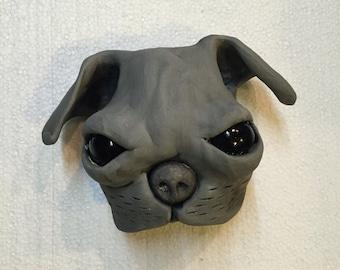 Ceramic pug mask, wall hanging, ceramic head