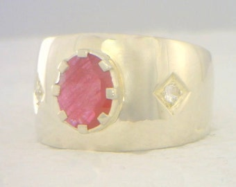 Red Ruby and White Sapphire Handmade Sterling 925 Silver Gents Ring size 10.25