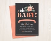 Oh Baby! Shower Invitation Printable PDF | Pink and Gray | Baby Shower Invite | Floral Banner | Customized | Digital Download