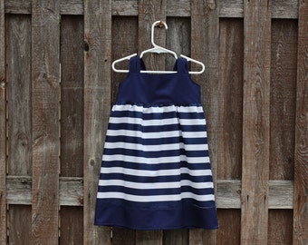Nautical Knot Dress, Navy Blue Striped Dress, Fourth of July Knot Dress