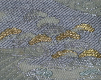 Fukuro obi S138, Fukuro, woven obi, pistachio green