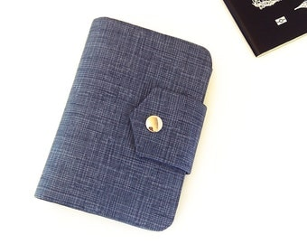 Passport Wallet , Travel Wallet, Passport Holder for Two OR Four Passports in Cross Hatch  - Choose Size and Lining Color -  Made To Order