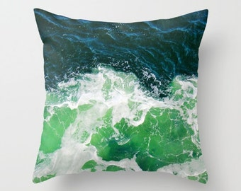 Green Ocean Waves Throw Pillow, Decorative Pillow, Nature Cushion, Wedding Gift, Nautical Pillow, Surf, dorm, office, hotel, therapy decor