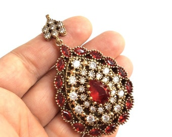 1pc- Antique Bronze with Red and Clear Crystal Rhinestone pendant-80x40 mm-(026-038GP)