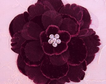 4.5 inch Beaded Rhinestone BURGUNDY Velvet Ribbon Fabric Rose Flower Applique Hat Corsage Pin Baby Pageant Bridal Hair Accessory Applique