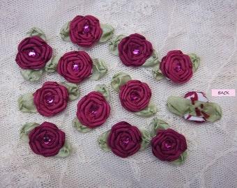 12 pc Set HANDMADE Vintage Like Burgundy Wine Ribbon Rosette Spider Rose Flower w Stone Applique Antique Doll Dog Baby Hair Bow