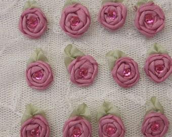 12 pc Set HANDMADE Vintage Like DUSTY ROSE Ribbon Rosette Spider Rose Flower w Stone Applique Antique Doll Dog Baby Hair Bow