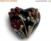 ON SALE 50% OFF Copper Shadow Heart Focal Bead 11834005 - Handmade Glass Lampwork Beads
