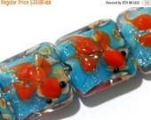 ON SALE 40% OFF Four Under The Sea Pillow Beads 11605914 - Handmade Grace Lampwork Bead Set