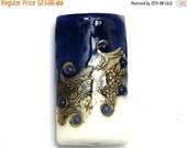 ON SALE 30% OFF White w/Purple Kalera Focal Bead 11808903 - Handmade Glass Lampwork Bead