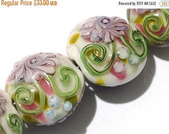 ON SALE 50% OFF Four Light Pink w/Blue Floral Lentil Beads - Handmade Glass Lampwork Bead Sets 11005412