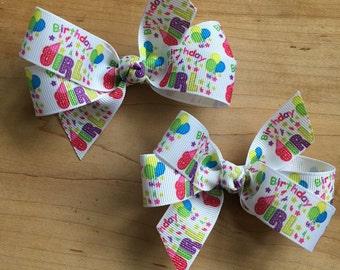 Birthday Girl Hair Bows - Birthday Party bow, clip