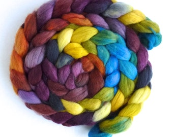 Finn Wool Roving - Hand Painted Spinning or Felting Fiber, Sunshine and Wine