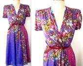 70s Floral Dress / 1970s Semi-sheer Floral Dress / FALLING FLOWERS Dress