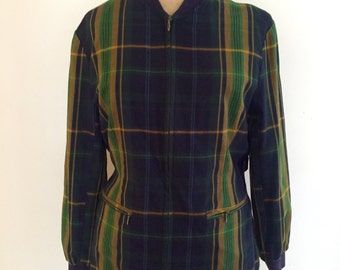Vintage 80s ESPRIT Zip up Plaid Jacket