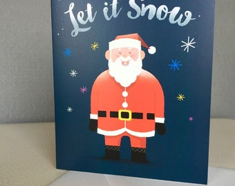 Box set of 6, Offset Christmas Card, Let it Snow