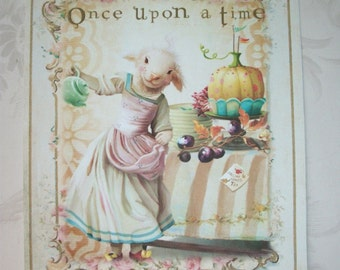 Tea Party - ONCE Upon A TIME – Elegant - Easter - Sweet floral scrolls - Set of 4 Tags or 4 notecards with envelopes - OUAT 8898