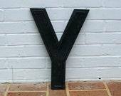 Huge Vintage Letter Y Sign Vintage Marquee Letter Y Hard Black Plastic Y Sign 17 Inches Tall