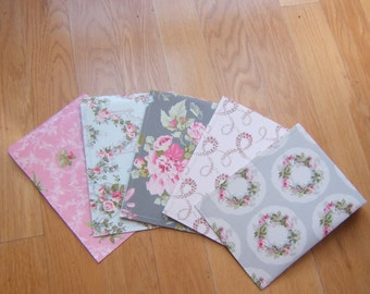 large paper mailing envelopes - pink grey floral prints