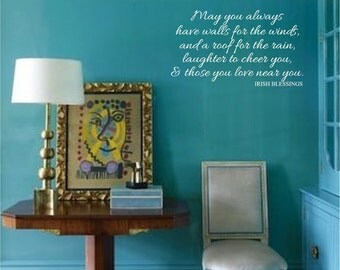 Irish Blessing Insperation, Quotation Custom Wall Decals Vinyl Lettering Stickers Words Irish Proverbs Irish Toasts