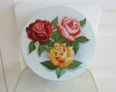 Vintage Floral Biscuit Tin Metal Box Roses Flowers Round Shabby Cottage Chic