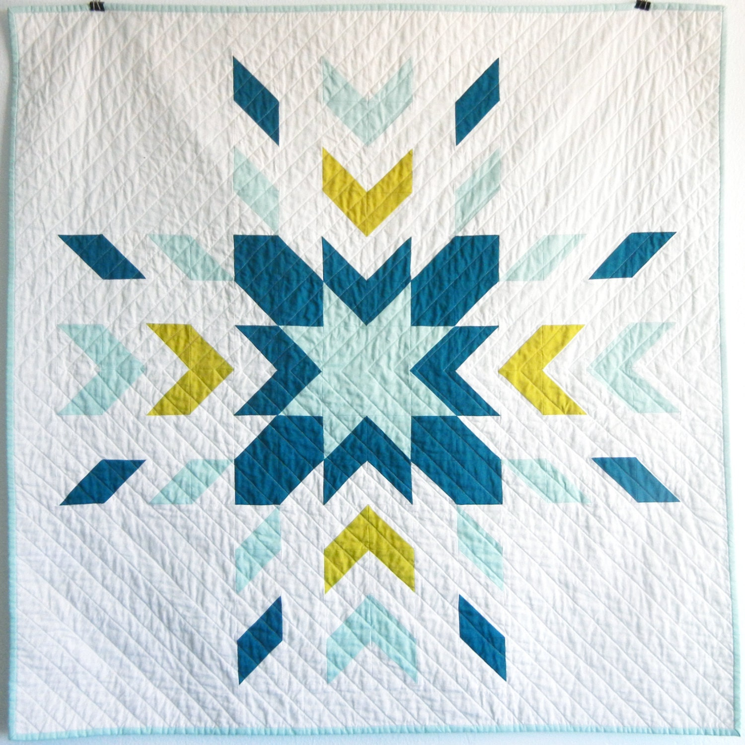 Modern solids glacier baby quilt for Modern house quilt pattern