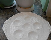 Vintage Shabby Chic White Deviled Egg Plate Holds 6 eggs